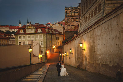 walking around Prague castle night time gas lamps