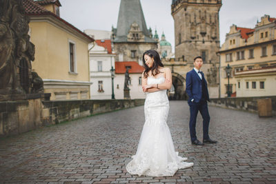 destination pre wedding photos Prague Charles Bridge