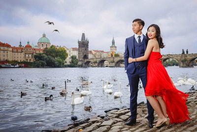 Sexy Shanghai couple at the riverside in Prague