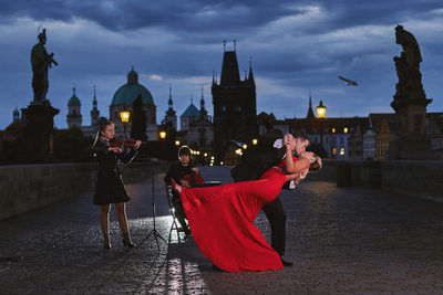Prague Charles Bridge famous engagement photo