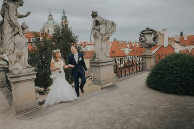 Walking in the Vrtba Garden on wedding day