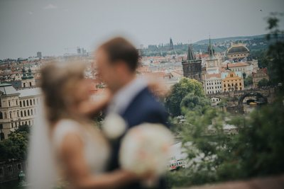Prague wedding day silhouette of bride & groom