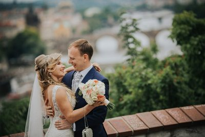 Happy Newlyweds above Prague