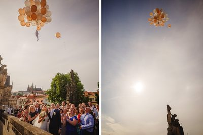 balloons carrying wishes are released in to the sky