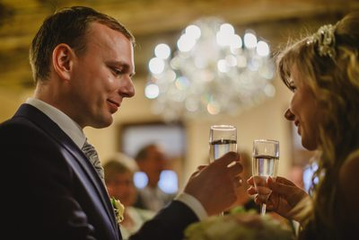 Champagne toast for the newlyweds Alchymist in Prague