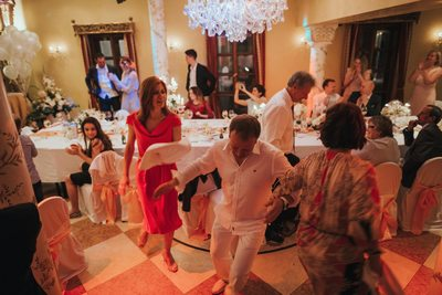 wedding guests dance at the Alchymist in Prague