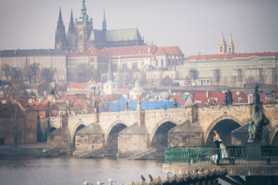 elegant wedding couple Charles Bridge + Prague Castle