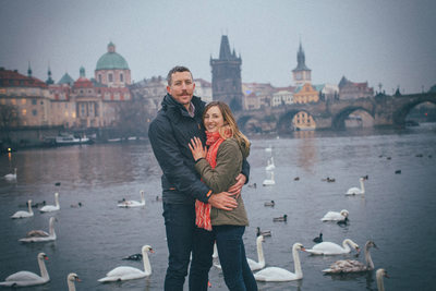 portrait of the new newlyweds near Charles Bridge