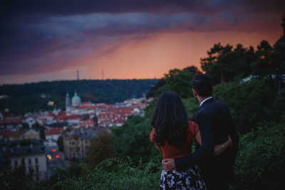 P&J watch a storm above Prague after agreeing to marry