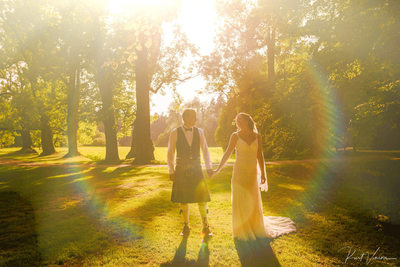Pruhonice Castle wedding day photos I sun flare JA