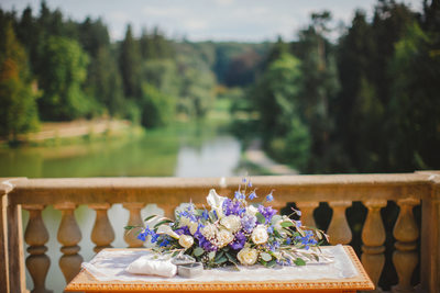 The table set up for a Pruhonice Castle wedding