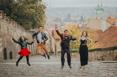 vintage style fun family portraits Prague photo session