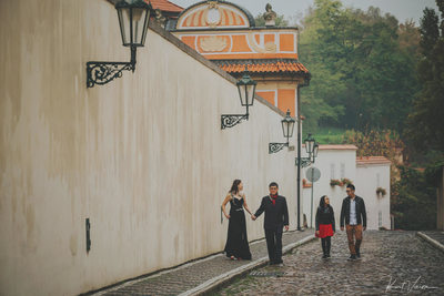 family walking through Novy Svet