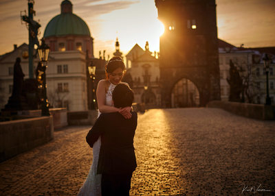 celebrating with a sunrise Charles Bridge pre wedding