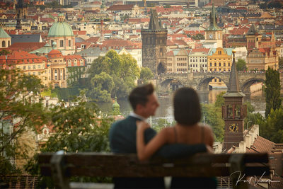 Prague marriage proposal: overlooking Prague