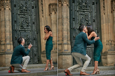 Prague marriage proposal: on his knee
