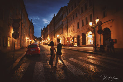 Prague marriage proposal: walking in Prague