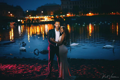 sexy couple portrait at Prague riverside at dawn