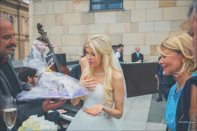 bride reacts to gift Four Seasons Hotel in Prague