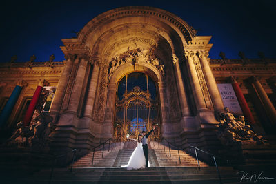 Petit Palais Paris wedding couple celebrating night