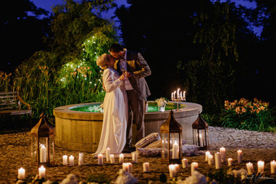 Luxury wedding Chateau Mcely - couple with candles
