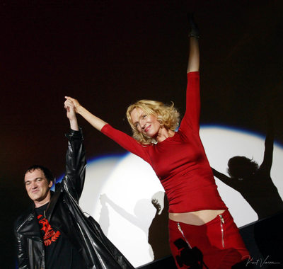 Quentin Tarantino & Uma Thurman on stage