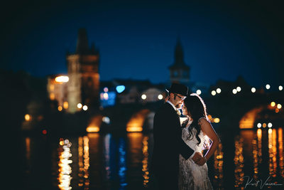 A romantic embrace for bride & groom