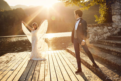 Gorgeous bride in the Golden Light a Lake Bled wedding