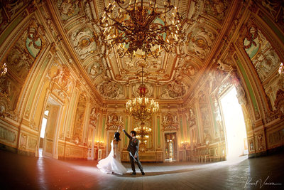 wedded couple dancing Palazzo Parisio ballroom