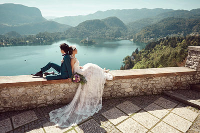 T&S enjoying view overlooking Lake Bled on wedding day