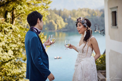 relaxing with a glass of wine Lake Bled weddings