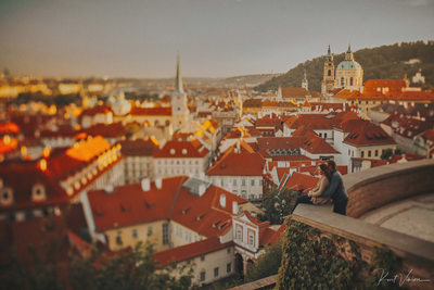 Sunset over Mala Strana Prague Fine Art Engagement pix