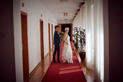 walking hand in hand I bride & groom I Vila Bled Slovenia