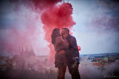 She said yes in a cloud of smoke Prague engagements