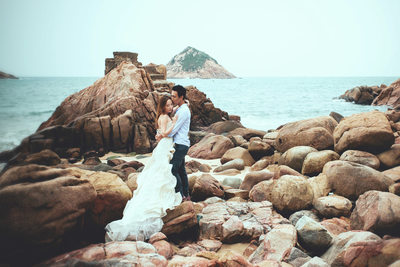 Hong Kong luxury pre weddings Berta Dress sexy couple