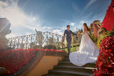sun flared gorgeous couple Vrtba Garden Prague