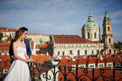 bride & groom enjoying view of Prague Vrtba Garden