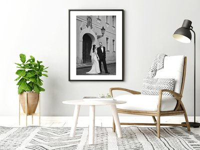 Beautifully framed black & white wedding pictures