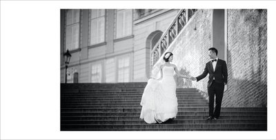 walking his bride down the castle steps S&S