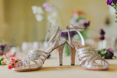The brides stylish shoes - Chateau Mcely weddings