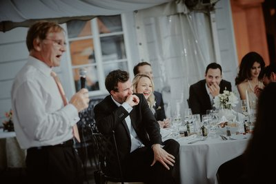 Guests react to Father of Bride speech