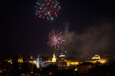 wedding day fireworks above Prague