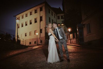 Happy Bride & Groom Prague Castle Night Photo