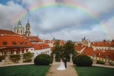 rainbow above Vrtba garden wedding photo
