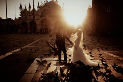 Fine Art bride & groom photo St Mark's Basilica sunrise