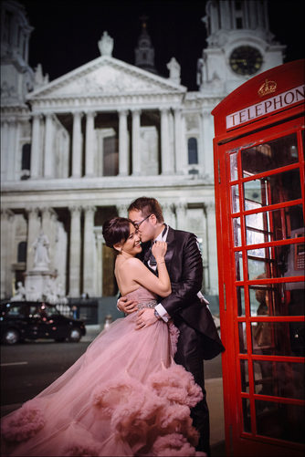 Pink wedding dress night portrait St. Paul's London