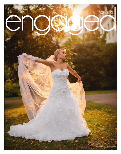 engaged magazine cover & feature J&J wedding in Prague