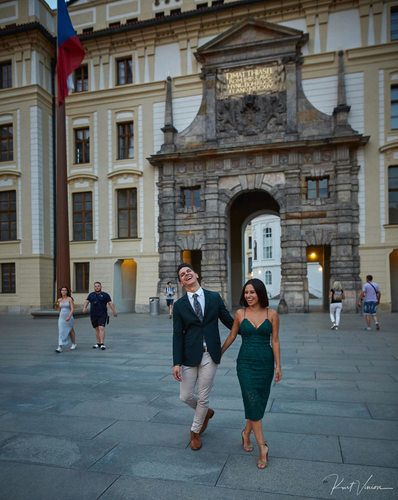 Prague marriage proposal: newly engaged