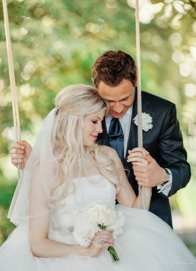 Gorgeous bride & groom in swing Prague wedding