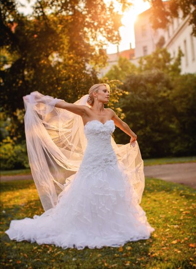 bride illuminated by the Golden Light in Secret Garden
